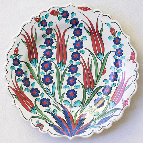 Highly decorative reproduction 16th century fluted Iznik plate 2