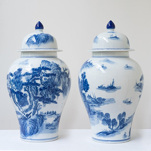Pair large highly decorative hand painted vases with lids