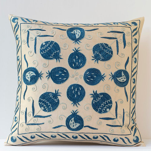 "50cm/ 20"" square cushion - silk hand embroidered Ottoman pomegranate mot"