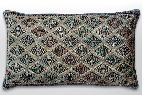 Very large rectangular hand embroidered wool/ mid teal antique linen cushion