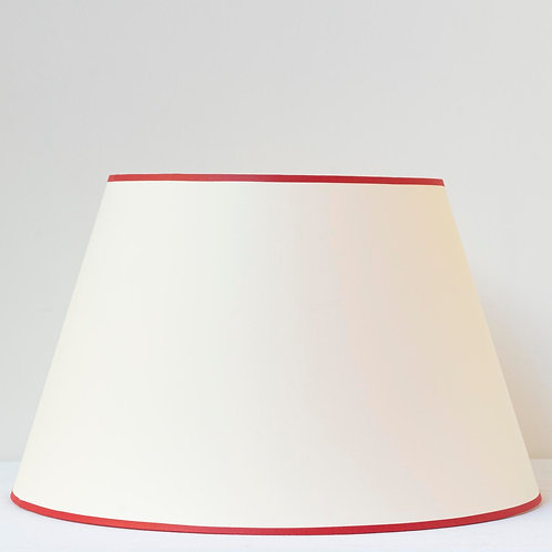 """16""""/41cm base cream Empire card shade with postbox red trim"""