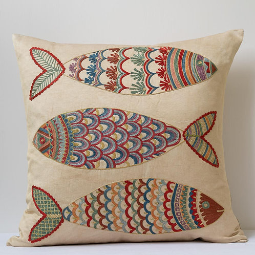 "(Y) Approx. 50cm/ 20"" pink square cushion - silk hand embroidered fish m"