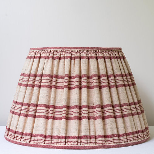 "16""/41cm base red/cream hand woven antique linen lampshade"