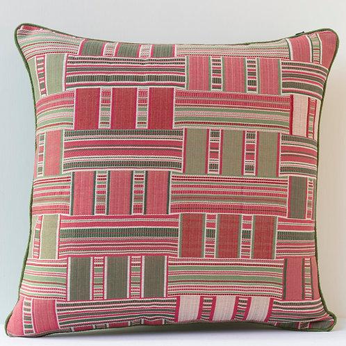 "20"" / 50 cm square Susan Deliss ""Demetra"" fabric/ green antique linen cushion"
