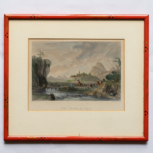 Framed 19th century engraving of The Cotton Plantations at Ning-po