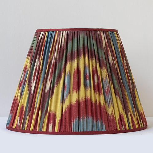 """14""""/45cm base hand woven ikat, silk trimmed lampshade"""