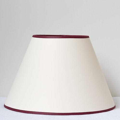 "12"" (30cm) base cream card shade with burgundy trim"
