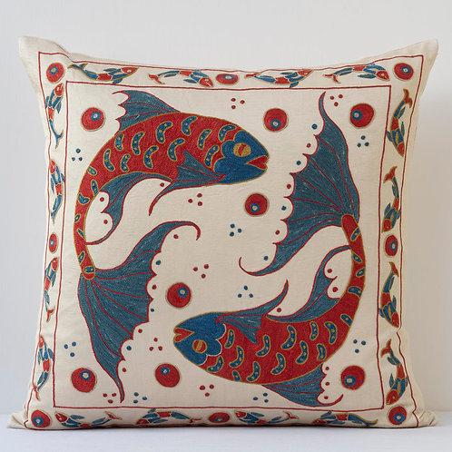 "Approx. 50cm/ 20"" square cushion - silk hand embroidered Koi carp"