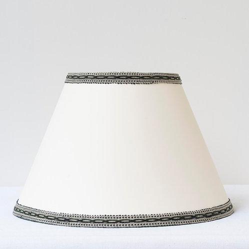 "C11 12"" (30cm) base cream card shade with hand woven sage green/cream trim"