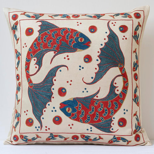 """Approx. 50cm/ 20"""" square cushion - silk hand embroidered fish m"""