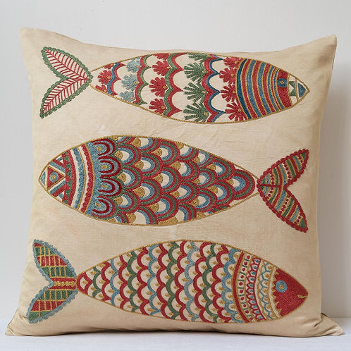 "(A4) Approx. 50cm/ 20"" square cushion - silk hand embroidered fish m"