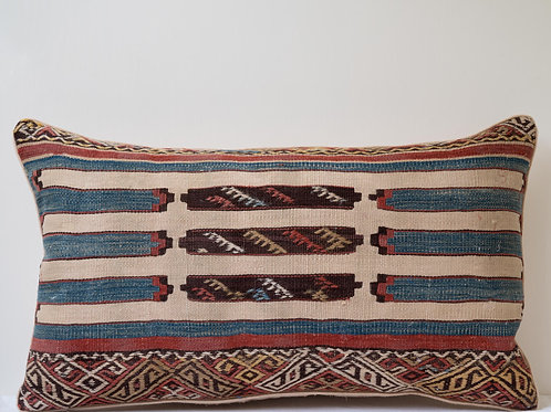 Rectangular hand embroidered/woven wool/ antique 19th Century linen cushion