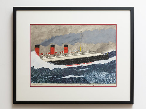 """Original painting of """"HMS Queen Mary"""""""