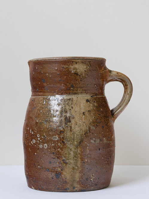 Large heavy antique French rustic pottery jug with nice history