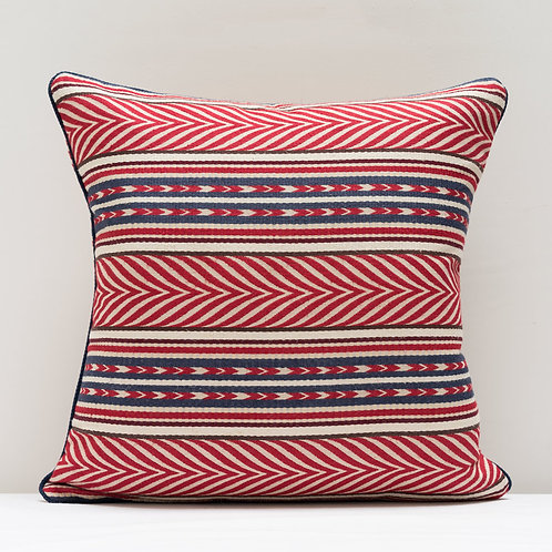 Susan Deliss red blue cream Aztec fabric cushion
