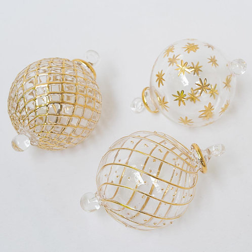 Mixed set 3 larger gold/clear Christmas baubles