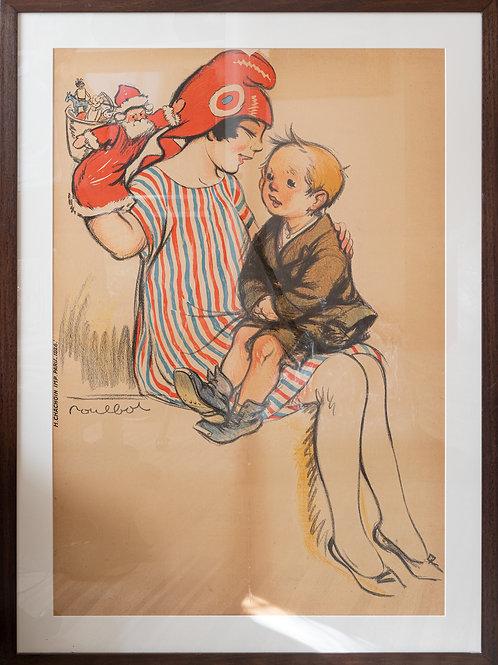 Large framed antique French poster
