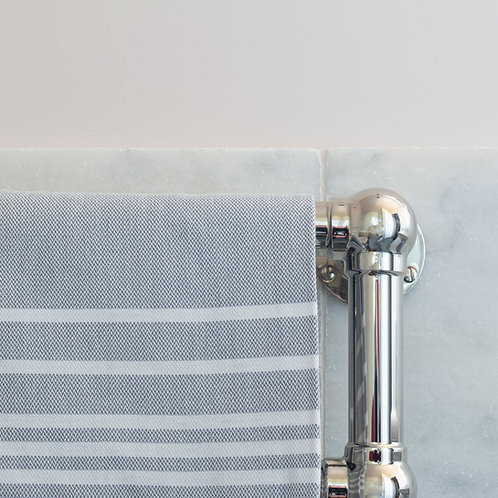 Set of 5 small hand woven grey/white cotton hammam towels
