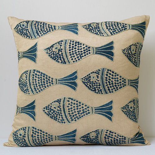 """Approx. 50cm/ 20"""" square cushion - silk hand embroidered fish motifs 14"""