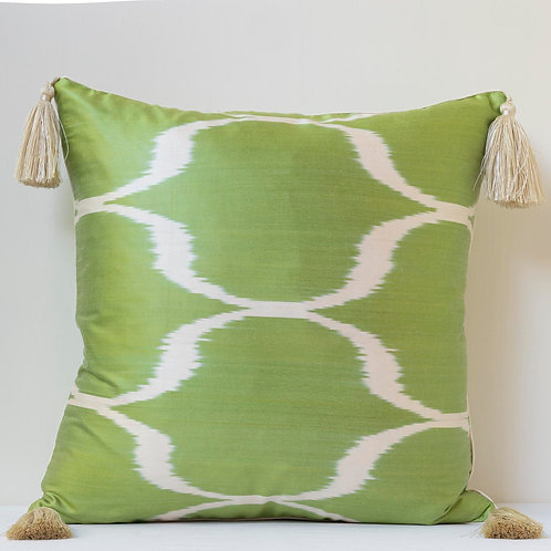 """50cm/ 20"""" double sided apple green/white ikat cushion with tassels"""