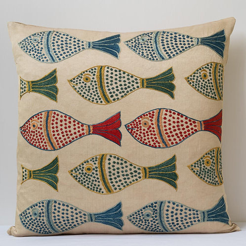 "(V) Approx. 50cm/ 20"" square cushion - silk hand embroidered fish motifs"