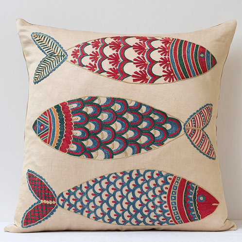 """(F26) Approx. 50cm/ 20"""" square cushion - silk hand embroidered fish"""