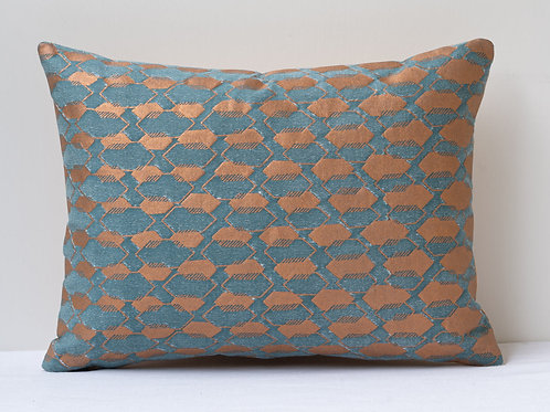 Rectangular small Fortuny fabric cushion, backed in hand woven French silk.