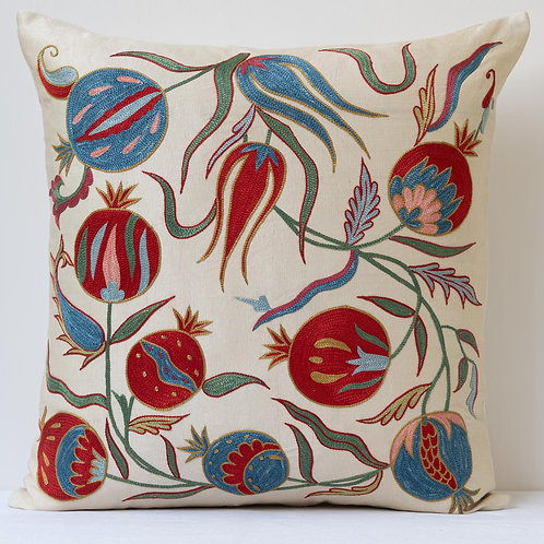 "Approx. 50cm/ 20"" square cushion - silk hand embroidered Ottoman pomegranates"