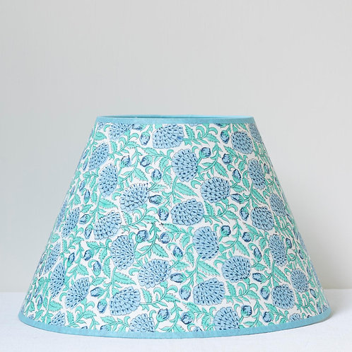 """US FINIAL FITTING 12"""" (30cm) base floral block print shade with sky blue trim"""