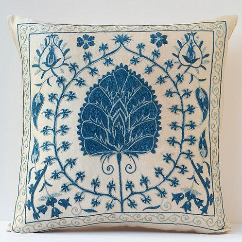 "Pair 50cm/ 20"" square cushions - silk hand embroidered Ottoman palm motifs"