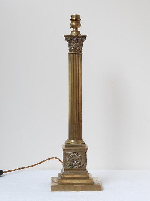Single decorative brass column lamp base