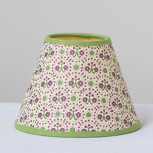 """6"""" (15cm) base small patterned card shade with green trim"""