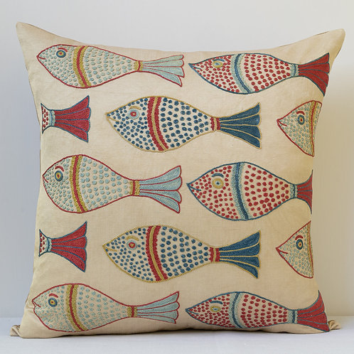 """Approx. 50cm/ 20"""" square cushion - silk hand embroidered fish motifs 6"""