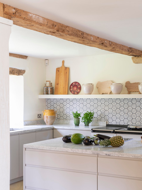 Close-up of English country kitchen