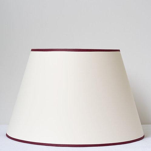 "14""/36cm base cream card shade with burgundy trim"