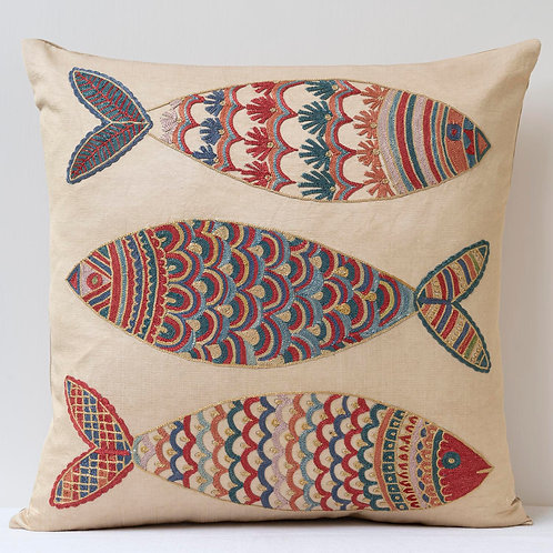 """(B1) Approx. 50cm/ 20"""" square cushion - silk hand embroidered fish"""