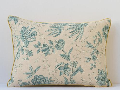Rectangular floral linen cushion with antique textile