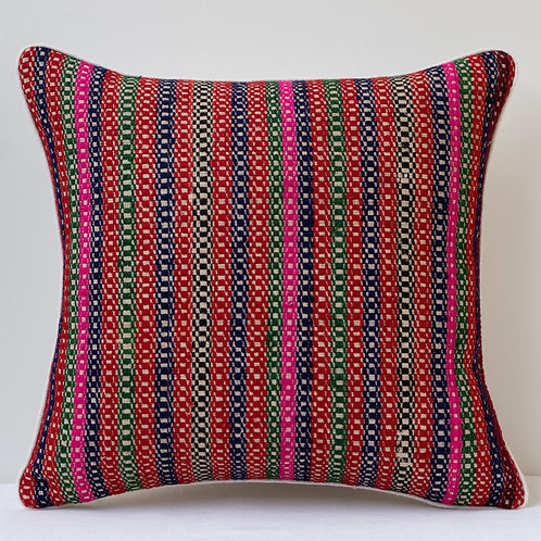 "18""/45cm striped cushion with antique hand woven textiles."