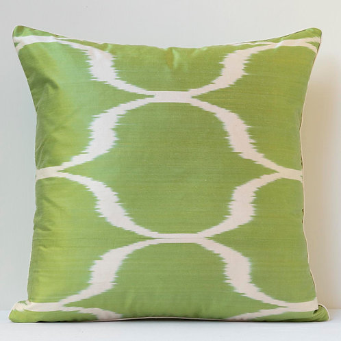 "50cm/ 20"" double sided apple green/white ikat cushion"