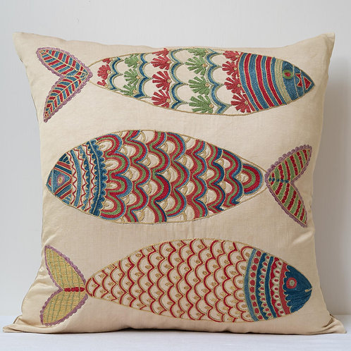 "(C1) Approx. 50cm/ 20"" square cushion - silk hand embroidered fish m"