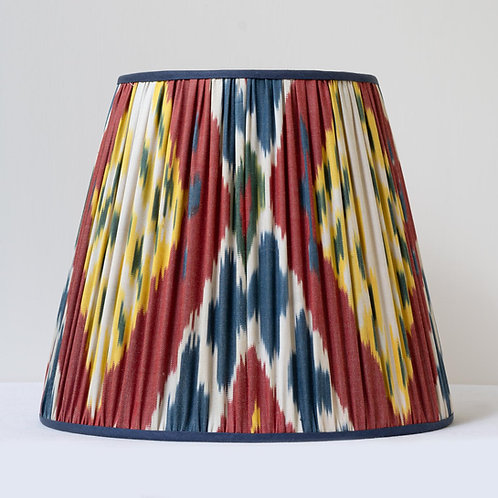 """13""""/33cm base hand woven ikat, silk trimmed lampshade"""