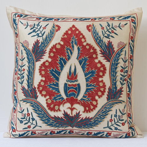 """Approx. 50cm/ 20"""" square cushion - silk hand embroidered Ottoman motif"""