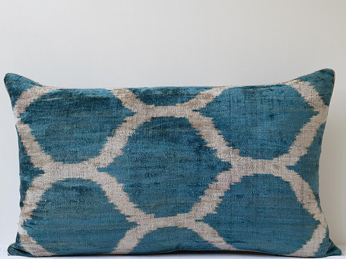 Rectangular hand woven silk velvet cushion