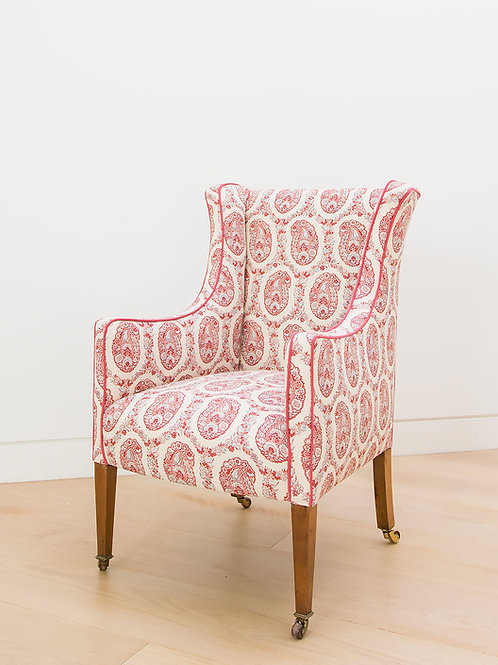 Armchair in Susan's Padishah hand printed linen