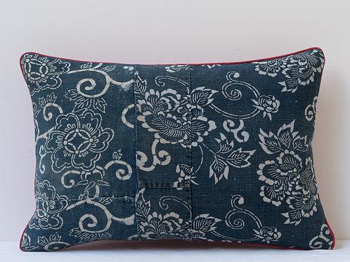 Rectangular red indigo antique textile cushion3