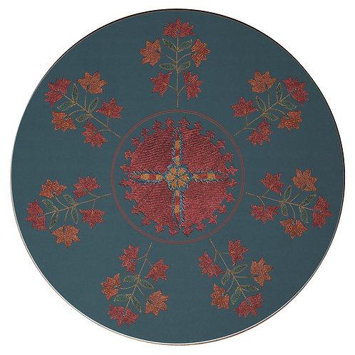 Sprig and star table mat in dark green (price per mat)