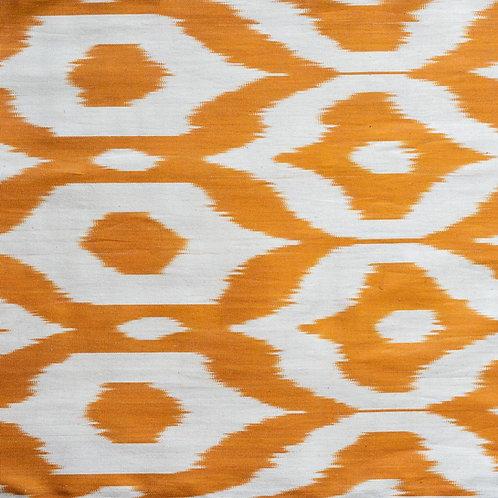 Burnt orange cream ogee motif ikat