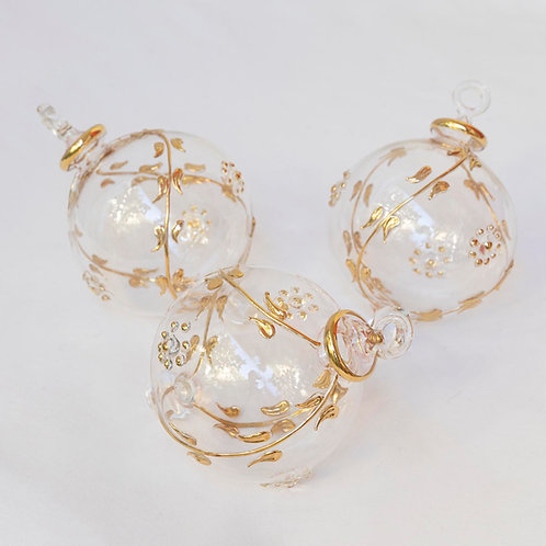 Set of 3 large Christmas clear gold baubles