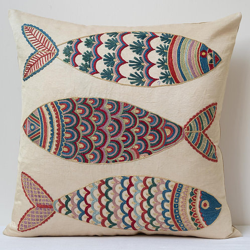 """(A6) Approx. 50cm/ 20"""" square cushion - silk hand embroidered fish m"""