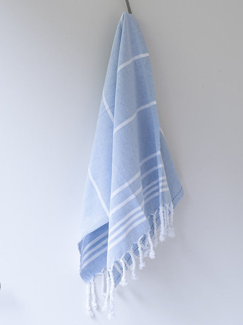 Large hand woven pale blue/white cotton hammam towel